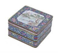 A Cantonese enamel two-tier box and cover