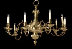 A gilt metal ten light chandelier