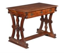 An Anglo-Indian exotic hardwood and brass inlaid writing or pay table