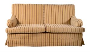 A striped upholstered sofa