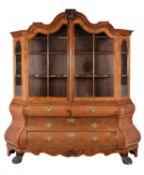A Dutch walnut display cabinet