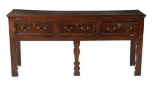 George III oak and walnut banded dresser base