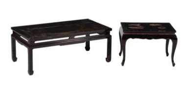 Two black lacquer low occasional tables
