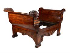 A mahogany bed frame