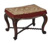 A Victorian rosewood foot stool