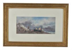 Sarah Louise Kilpack (British c.1840-1909), Boats at low tide