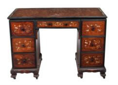 An Anglo-Chinese hardwood and marquetry pedestal desk
