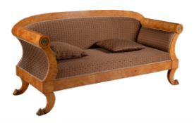 A maple and upholstered sofa