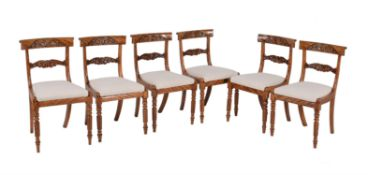 A set of six satin birch dining chairs in early Victorian style