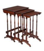 A William IV nest of three goncalo alves tables