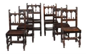 A set of six oak chairs in 17th century style