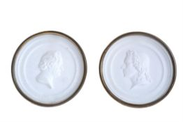 A pair of Continental plaster profile medallions of Johann von Goethe and Friedrich Schiller