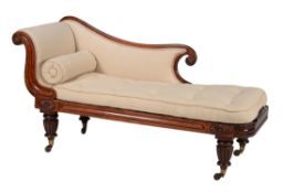 A Victorian mahogany and upholstered chaise longue