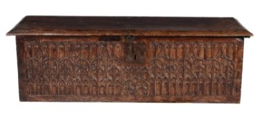 A Northern European carved walnut chest or coffer