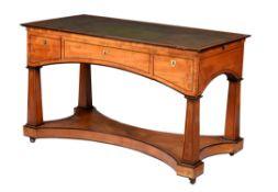 A Continental satinwood, ebony and ebonised banded desk