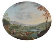 English Provincial School (Circa 1800) , Classical river scene with figures and cattle