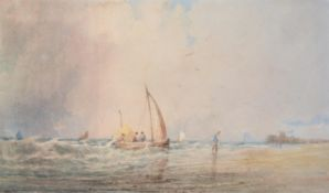 Attributed to Copley Fielding (British 1787-1855) , Hauling in the fishing boats