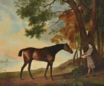 Studio of George Stubbs (British 1724-1806), Shark and his trainer Price in a river landscape