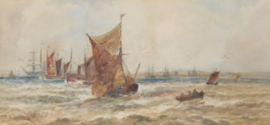 Thomas Bush Hardy (British 1842-1897), Shipping off the coast