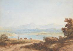Follower of Copley Fielding, Cows on a riverbank