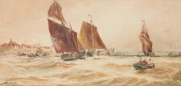 Thomas Bush Hardy (British 1842-1897), French fishing boats off the coast