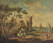 Italian School (18th Century), Capriccio harbour scene with figures along the shore