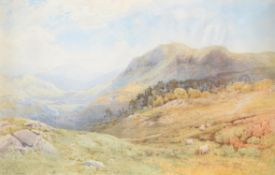 Frederick Tucker (British c.1860-c.1935) , Valley Landscape with sheep