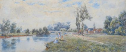 Claude Rowbotham (British 1864-1949), Figures picnicking beside a river