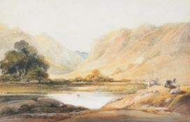 George Chinnery (British 1774-1852) , Three cows beside a mountain lake