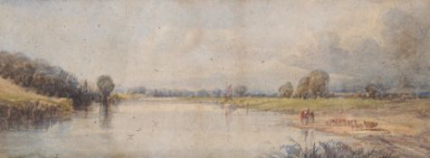 Edmund Morrison Wimperis (British 1835-1900), River landscape with shepherd and sheep in the foreg