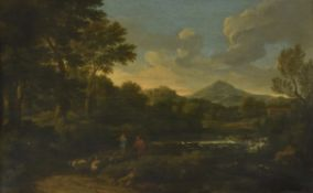 Circle of Gaspard Dughet (French 1615-1675) , Landscape with shepherd