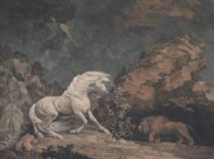 George Stubbs (British 1724-1806), A horse affrighted by a lion