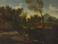 Follower of Gaspar Dughet, Fishermen in a river landscape