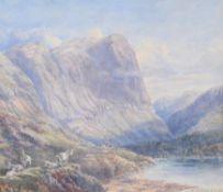 Aaron Edwin Penley (British 1807-1870) , Goats on a mountain pass