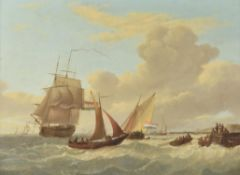 Johannes Hermanus Koekkoek (Dutch 1778-1851) , Shipping off the coast