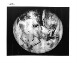 Lunar Orbiter V. The first photograph of nearly full Earth taken from space.