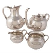 Y A matched Victorian silver four piece baluster tea and coffee service
