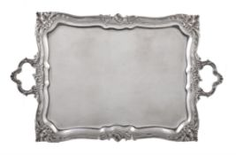A Belgian silver twin handled rectangular tray by Delheid Frères