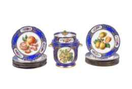 A Paris porcelian (Boyer Sr de Feuillet) blue-ground and gilt Sevres-style part dessert service