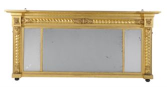 A William IV giltwood and composition overmantel mirror