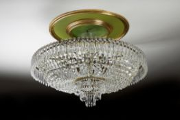 A glass and gilt metal mounted ceiling light