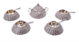A rare Victorian silver five piece novelty cruet set by Thomas Smily