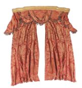 A red and gold damask curtain suite
