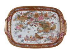 A Japanese Kutani two-handled tray