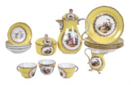 A Meissen (outside decorated) yellow-ground part coffee service