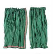 A pair of dark green silk curtains