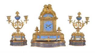 A French Sevres style porcelain and gilt metal mounted clock garniture Japy Frères