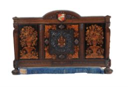 Y A Victorian carved walnut, rosewood and marquetry half-tester bed