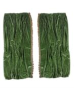 Two pairs of plain dark green velvet curtains