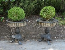A pair of black painted cast iron planters in late 18th Century style